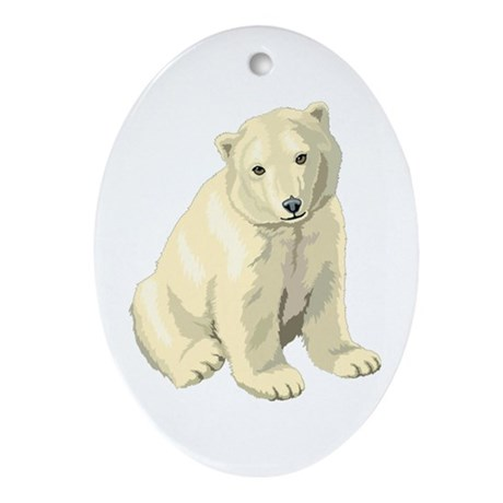Polar Bear Gift Oval Ornament
