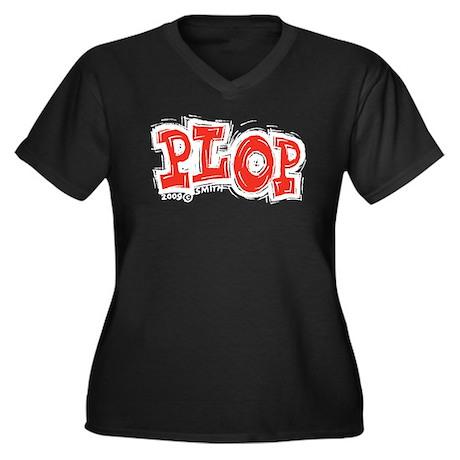 Plop Women's Plus Size V-Neck Dark T-Shirt