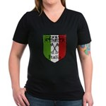 Italian Crest Women's V-Neck Dark T-Shirt