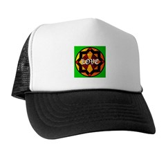 LOVE on Stained Glass Art Trucker Hat