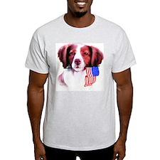 Brittany Spaniel with flag Ash Grey T-Shirt