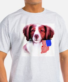 Brittany Spaniel with flag Ash Grey T-Shirt