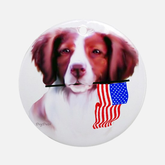 Brittany Spaniel with flag Ornament (Round)