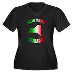 New York Italian Women's Plus Size V-Neck Dark T-S