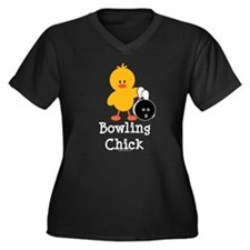Bowling Chick Women's Plus Size V-Neck Dark T-Shir