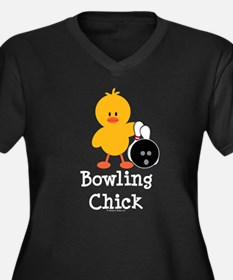 Bowling Chick Women's Plus Size V-Neck Dark T-Shir