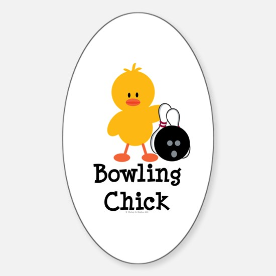 Bowling Chick Oval Decal
