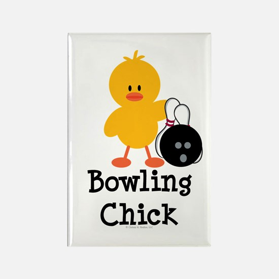 Bowling Chick Rectangle Magnet