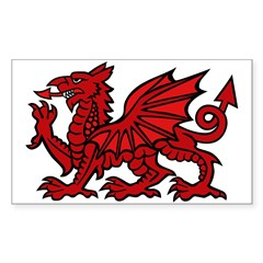 Midrealm red dragon vinyl Rectangle Decal