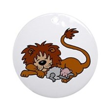 Lion and Lamb Ornament (Round)