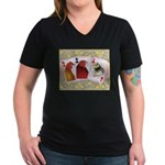 Family Cards Women's V-Neck Dark T-Shirt