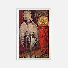 Vintage Halloween Scared Cockatoo Rectangle Magnet