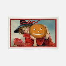 Vintage Halloween Girl Pumpkin Rectangle Magnet
