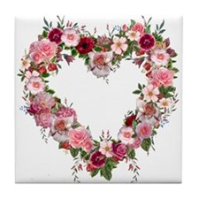 Floral Heart Tile Coaster