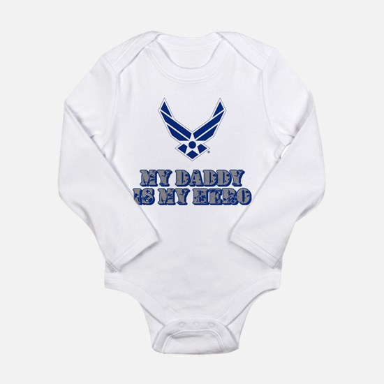 USAF My Daddy is my He Long Sleeve Infant Bodysuit