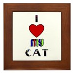 LOVE MY CAT Framed Tile
