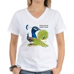 Peacock Indian Blue Women's V-Neck T-Shirt