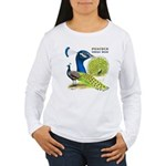 Peacock Indian Blue Women's Long Sleeve T-Shirt