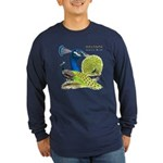 Peacock Indian Blue Long Sleeve Dark T-Shirt