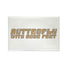 Butterfly with Sore Feet Rectangle Magnet