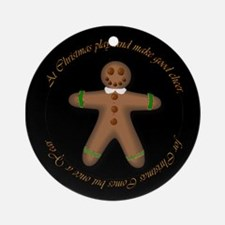Gingerbread Man with Verse Ornament (Round)