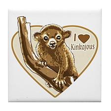 I Love Kinkajou Tile Coaster