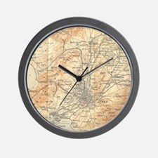 Vintage Map of Athens Greece (1908) Wall Clock