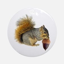 Squirrel Eating Acorn Ornament (Round)