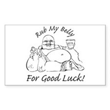 Rub My Belly For Good Luck Rectangle Decal