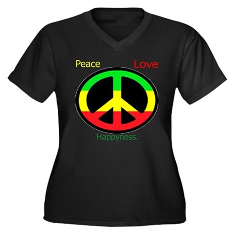 Peace, Rasta, Happiness, Love Women's Plus Size V-