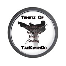 Traditional Taekwondo Tenets Wall Clock