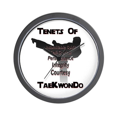 Traditional Taekwondo Tenets Wall Clock