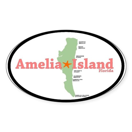 Amelia Island FL. Oval Sticker