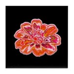 Minky Flower Ceramic Tile Coaster (black/red)