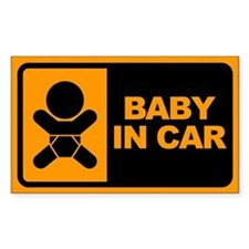 Baby in Car Rectangle Stickers