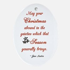 J Austen Christmas Quote Oval Ornament
