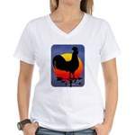 Sunrise Rooster Women's V-Neck T-Shirt