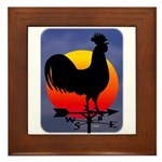Sunrise Rooster Framed Tile