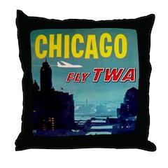 Chicago / TWA Throw Pillow