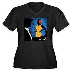 New York Jazz Women's Plus Size V-Neck Dark T-Shir