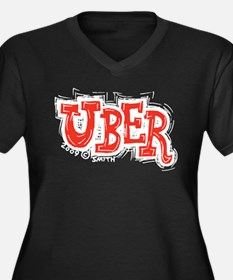 Uber Women's Plus Size V-Neck Dark T-Shirt