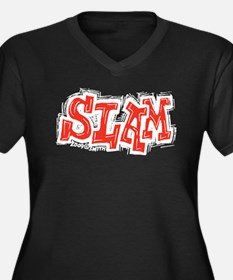 Slam Women's Plus Size V-Neck Dark T-Shirt