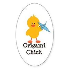 Origami Chick Oval Decal