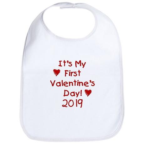 It's My First Valentine's Day Bib