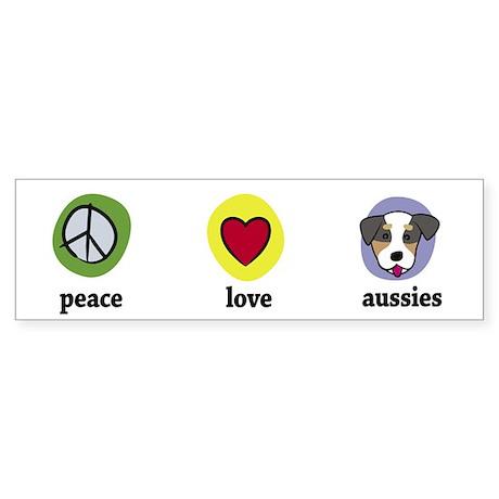 Peace Love Aussies Bumper Sticker