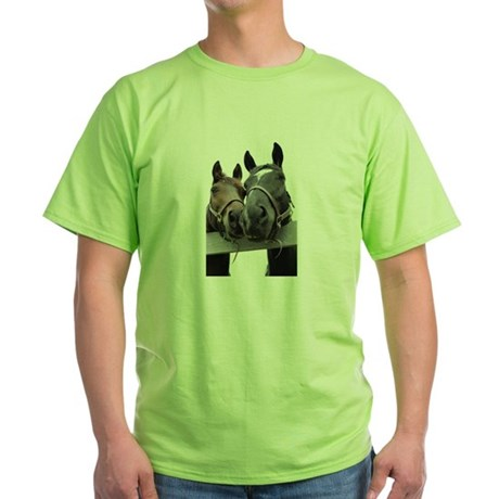 Kissing Horses Green T-Shirt