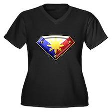 Super Pinoy Women's Plus Size V-Neck Dark T-Shirt