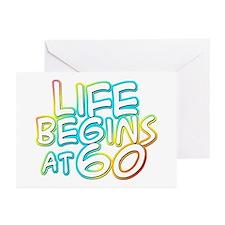 60th birthday life begins at 60 Greeting Cards (Pa