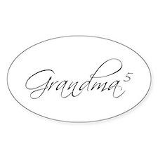 Grandma of 5 Oval Decal