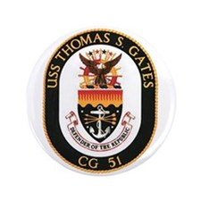 "USS Thomas S. Gates CG 51 US Navy Ship 3.5"" Button"